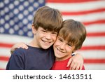 brothers hugging in front of... | Shutterstock . vector #14613511
