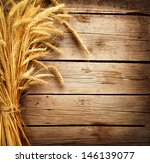 wheat ears on the wooden table. ... | Shutterstock . vector #146139077