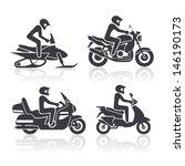 noir,casque,icône,illustration,isolé,moto,moto,coureur,ride,cavalier,scooter,ensemble,motoneige,norme,symbole