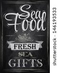 poster lettering sea food fresh ... | Shutterstock .eps vector #146193533