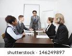 multiethnic businesspeople at... | Shutterstock . vector #146249897