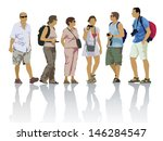 tour group  tourists on a trip. ... | Shutterstock .eps vector #146284547