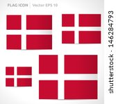 Denmark flag template | vector symbol design | color red and white | icon set