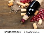 bottle of wine  grapes and... | Shutterstock . vector #146299613