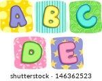 Illustration of Quilt Alphabet Letters A B C D E