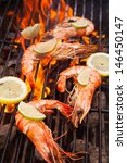 Grilled King Size Prawns On Fire