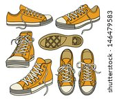 set with yellow sneakers...