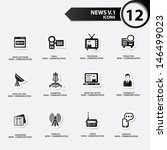 news icon set 1 black version... | Shutterstock .eps vector #146499023