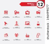 news icon set 1 red version... | Shutterstock .eps vector #146499077