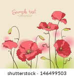 card with stylized poppy flowers | Shutterstock .eps vector #146499503