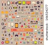 135 vector icons. big set.... | Shutterstock .eps vector #146524277