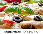 pizza with ham  salami and... | Shutterstock . vector #146543777