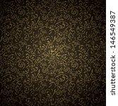 gold damask seamless pattern on ... | Shutterstock .eps vector #146549387