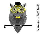 Vector Bird  Owl In Yellow...
