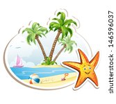 summer beach with palm trees... | Shutterstock .eps vector #146596037
