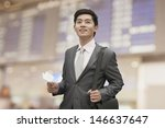 young businessman holding... | Shutterstock . vector #146637647
