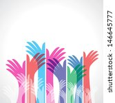 Colorful Up Hands  Vector...