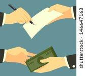 vector hands with pen document... | Shutterstock .eps vector #146647163