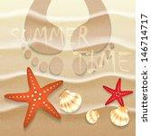summer background sand seashell ... | Shutterstock .eps vector #146714717