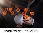 businessman engineer hand use... | Shutterstock . vector #146721377