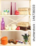 beautiful white shelves with... | Shutterstock . vector #146738333