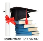 grad hat with diploma and books ... | Shutterstock . vector #146739587