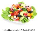 Tasty Greek Salad Isolated On...