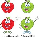 happy red and green apples...   Shutterstock .eps vector #146753033
