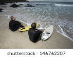two surfers with surfboards on... | Shutterstock . vector #146762207