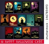 13 happy halloween cards | Shutterstock .eps vector #146785493