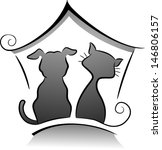 Stock vector illustration of cat and dog shelter silhouette in black and white 146806157