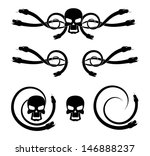 abstract cartoon skull with... | Shutterstock . vector #146888237