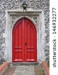 Red Gothic Church Door ...