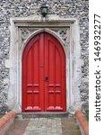 Red Gothic Church Door ...