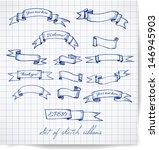 set of pen sketch ribbon... | Shutterstock .eps vector #146945903