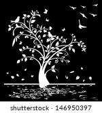 black and white tree with birds ... | Shutterstock . vector #146950397