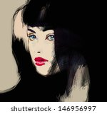 woman face. hand painted... | Shutterstock . vector #146956997