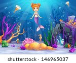 Illustration of the underwater worlds with a funny fish and a mermaid.