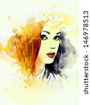 woman face. hand painted... | Shutterstock . vector #146978513