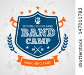 Band camp marching drum corp emblem logo badge