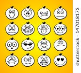 funny cartoon faces. | Shutterstock .eps vector #147018173