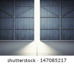 bright light in open hangar... | Shutterstock . vector #147085217