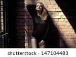 fashion blond model posing... | Shutterstock . vector #147104483