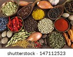 spices and herbs in metal ... | Shutterstock . vector #147112523