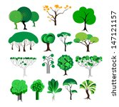 set of different trees on a... | Shutterstock .eps vector #147121157
