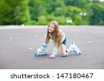 little girl in roller skates... | Shutterstock . vector #147180467