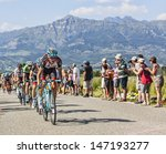 Small photo of LA ROCHETTE, FRANCE- JUL 16:Andy Schleck riding in front of the peloton after the ascension to Col de Manse during the stage 16 of 100 edition of Le Tour de France on July 16 2013 in La Rochette