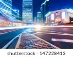 shanghai downtown at night with ... | Shutterstock . vector #147228413