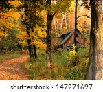 New England Cabin In Autumn