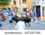 Zoom Blurred Bull Street Run